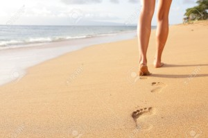 walking on beach