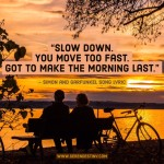 Day Right Quote #46:  Slow Down. You Move Too Fast.